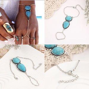 Jewelry - Boho Style Chain Bracelet w/ Ring / Slave Bracelet